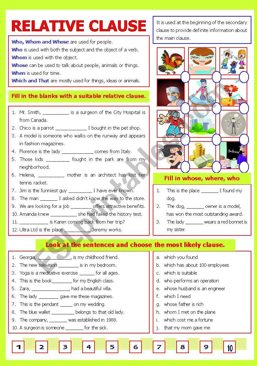 Relative Clause worksheet