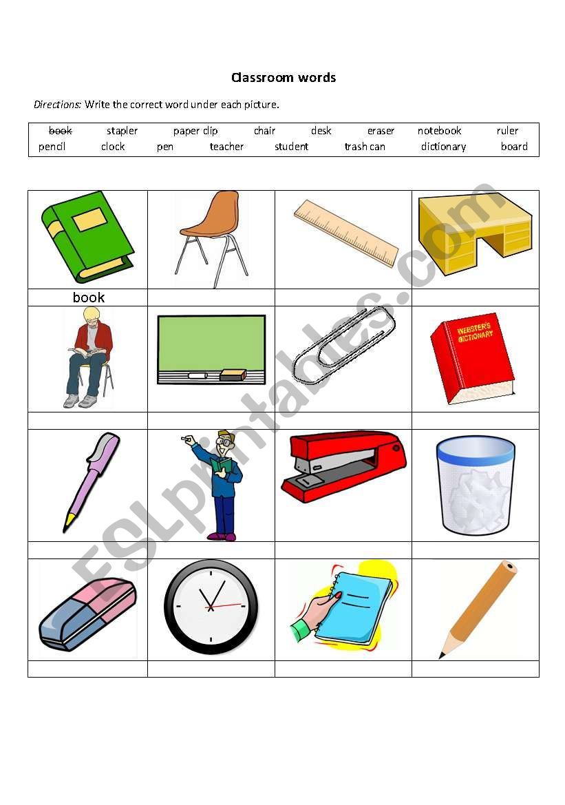 classroom words esl worksheet by alejandrafm. Black Bedroom Furniture Sets. Home Design Ideas