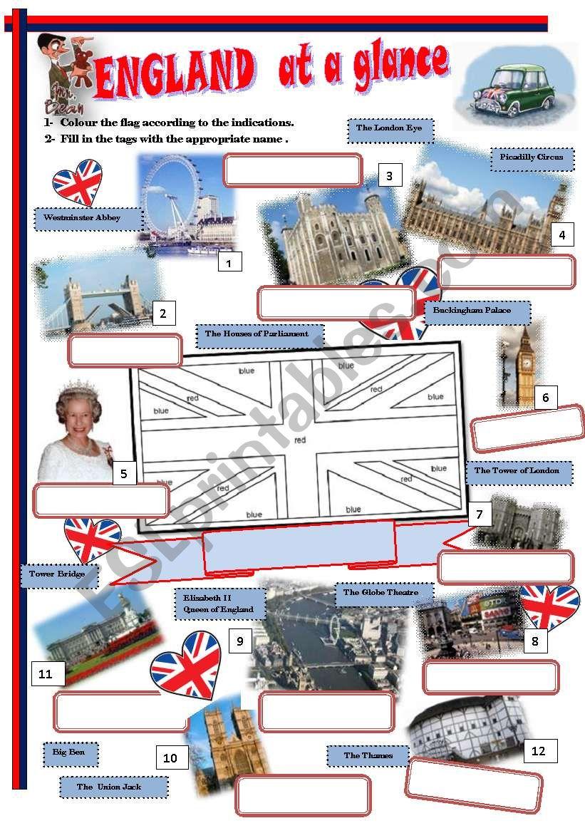 England at a glance worksheet