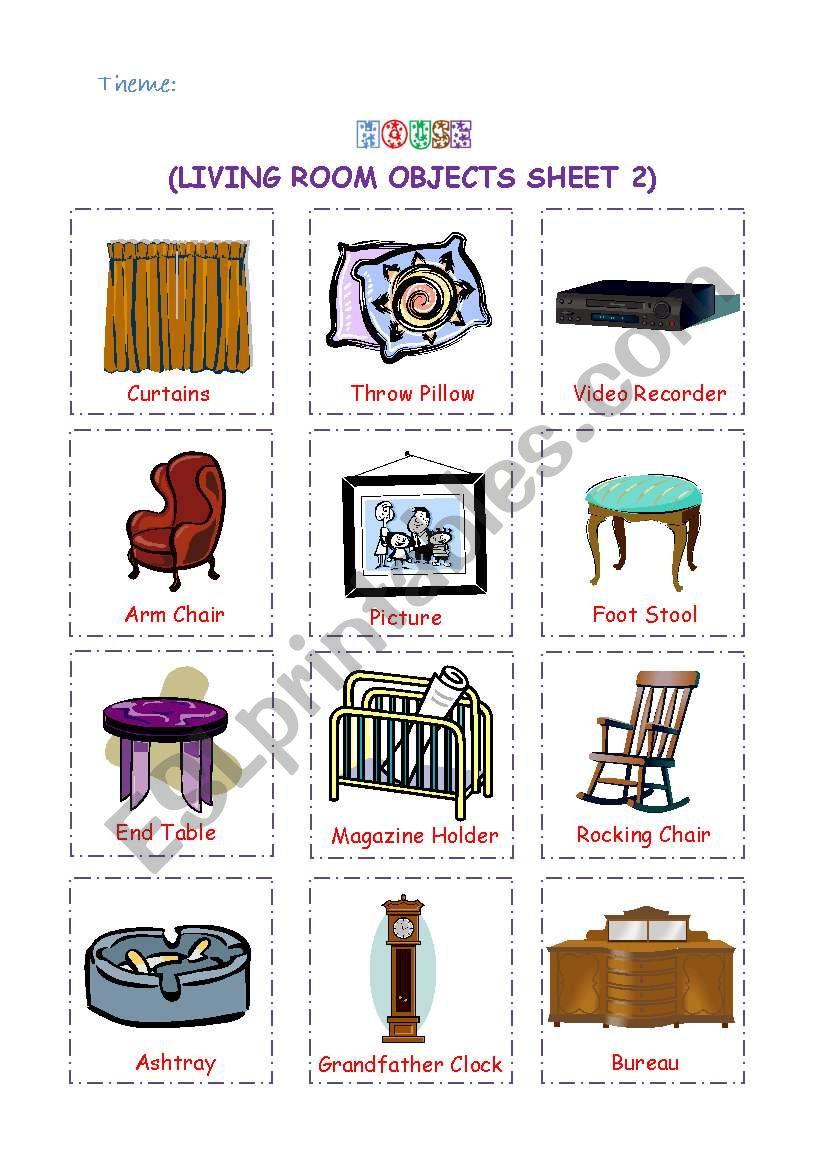 Living Room Objects 2 Esl Worksheet By Leilaftouni