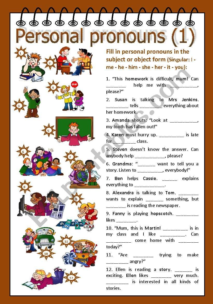 Personal pronouns 1 worksheet