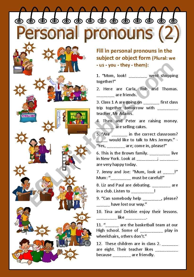 Personal pronouns 2 worksheet