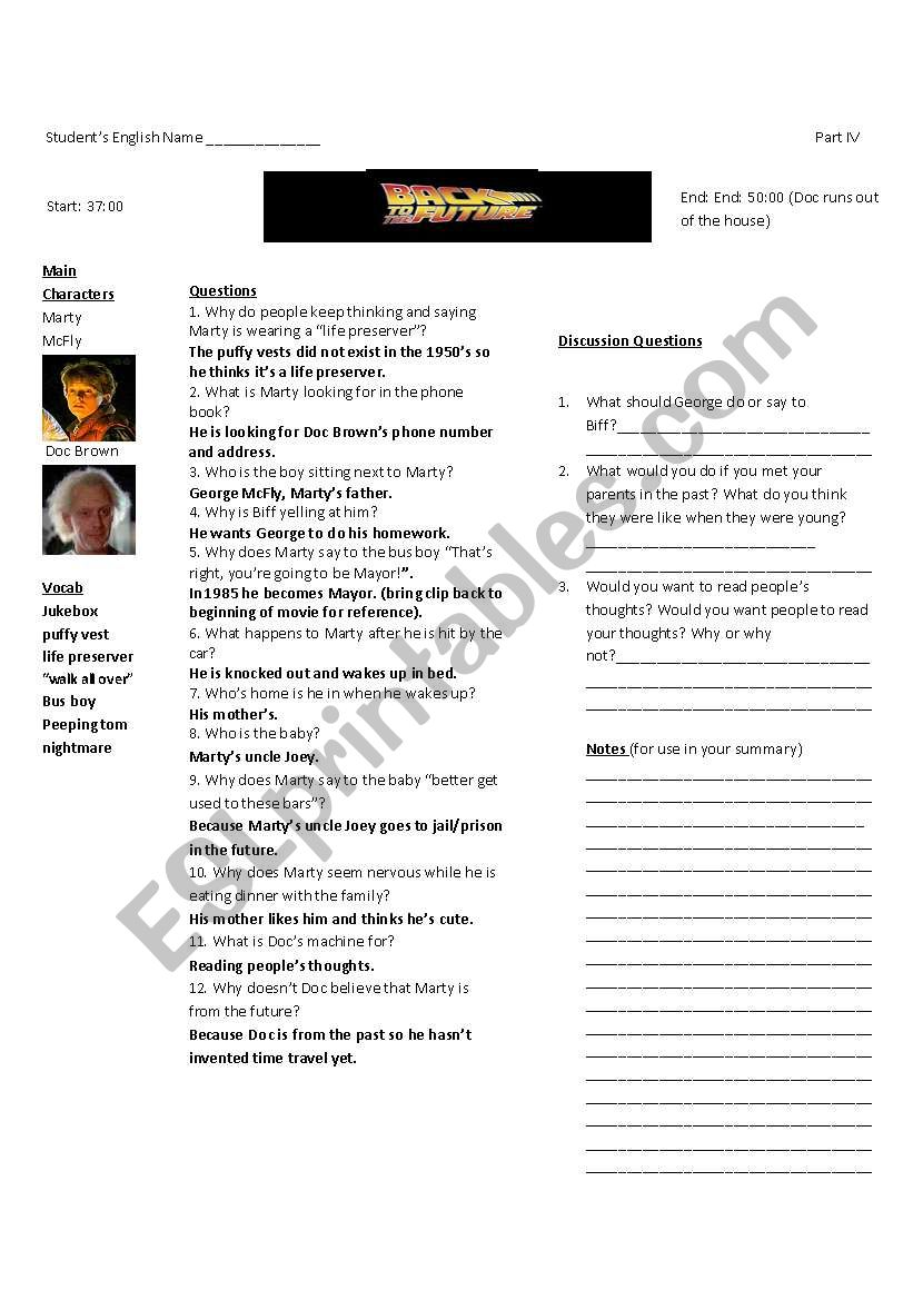 Back to the Future Part I: Worksheet 4 of 7