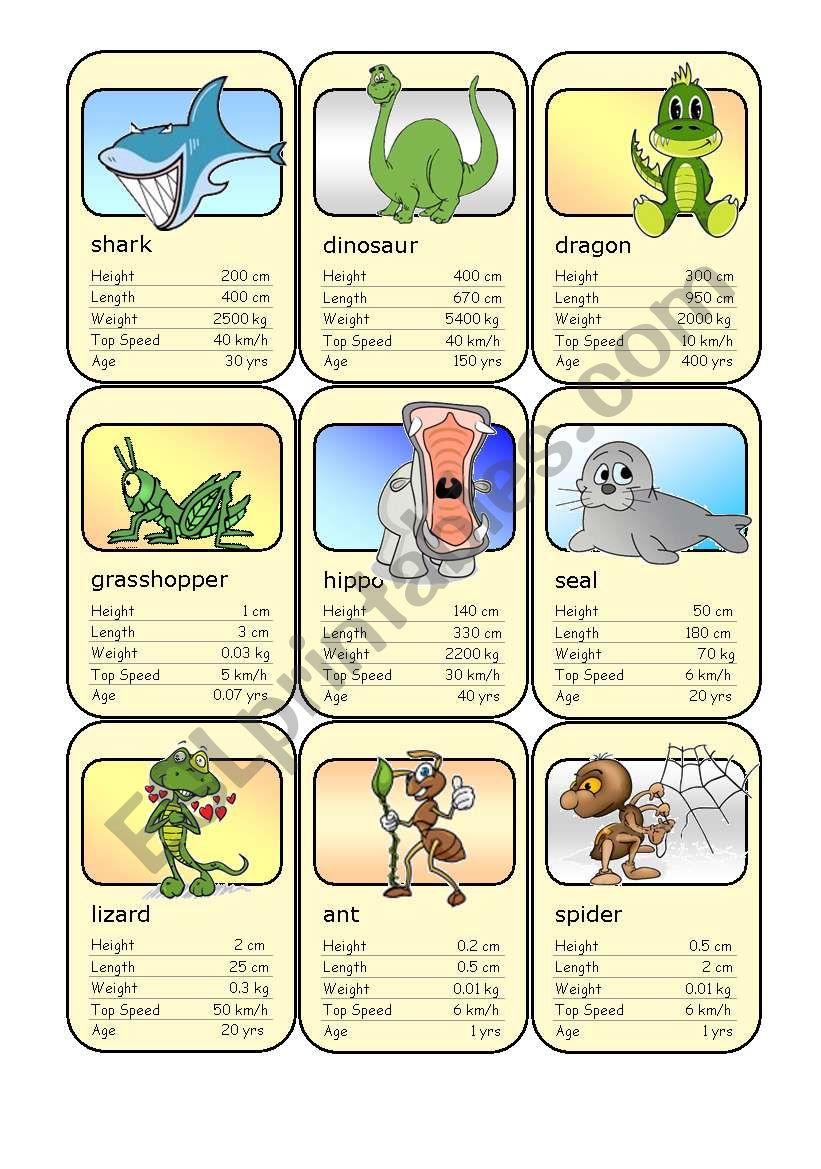 Animal Card Game (1) worksheet