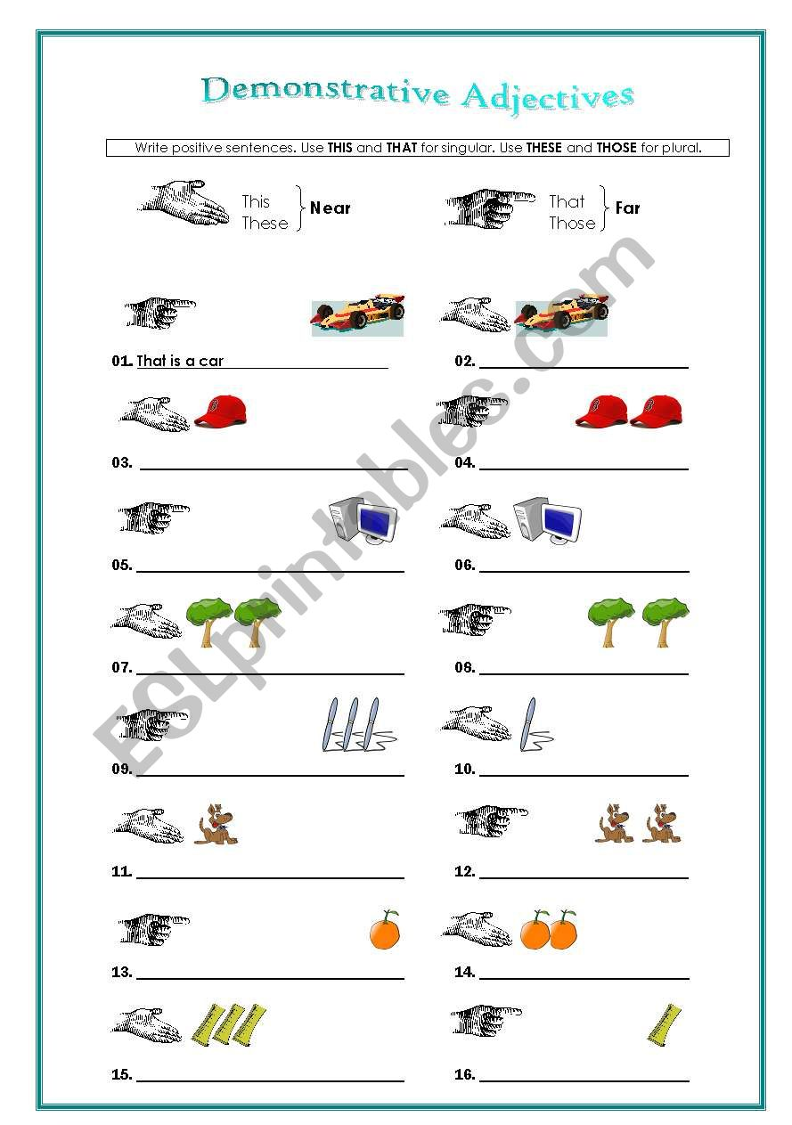 demonstratives adjectives esl worksheet by emartini. Black Bedroom Furniture Sets. Home Design Ideas