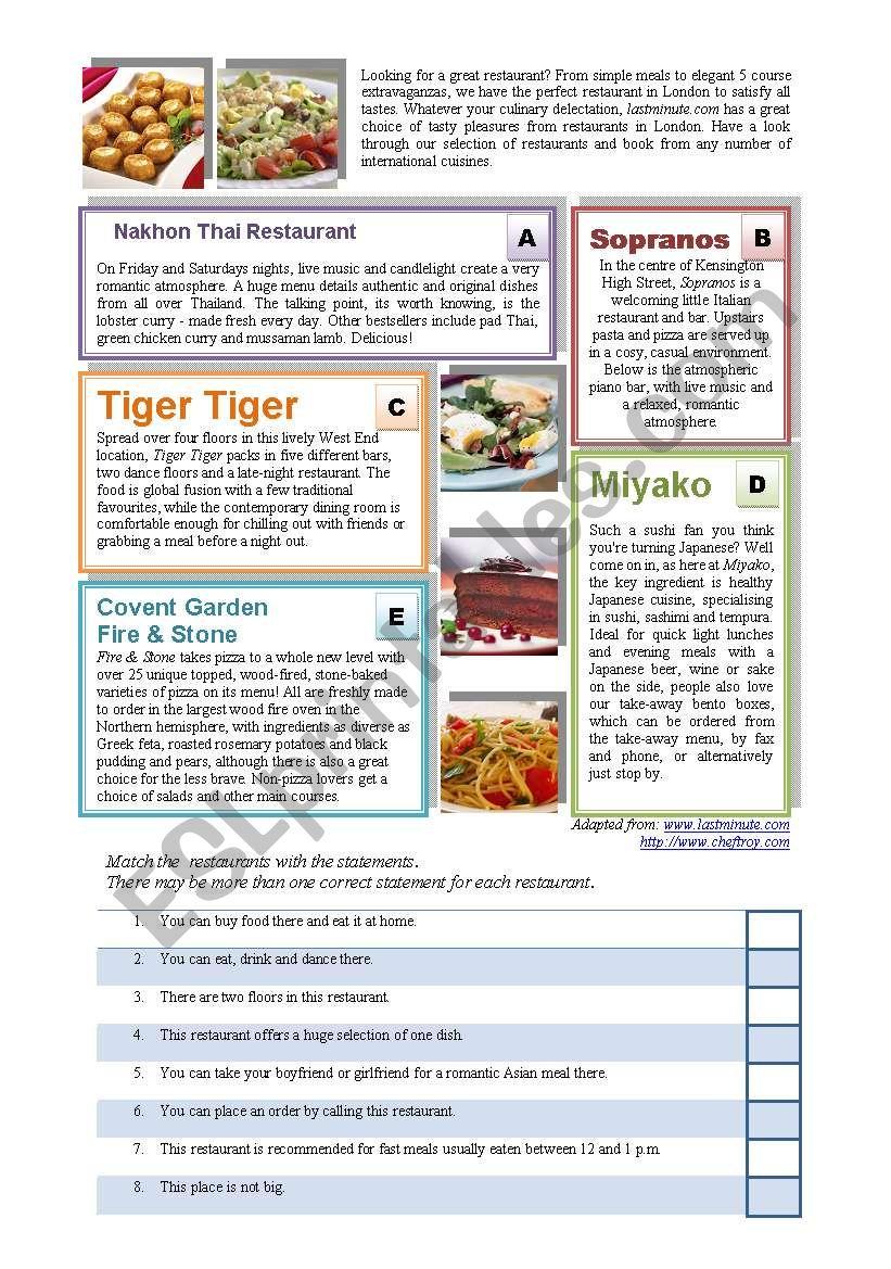 Restaurants Reading worksheet