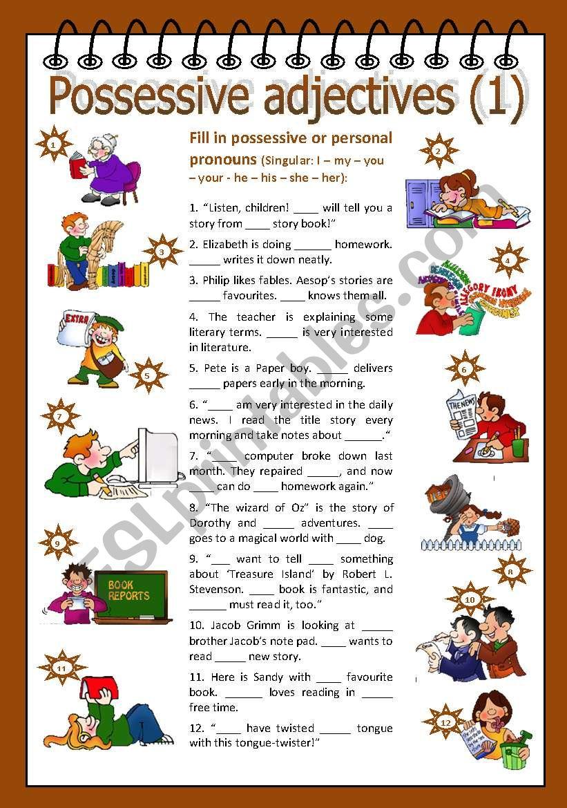 Possessive adjectives 1 worksheet