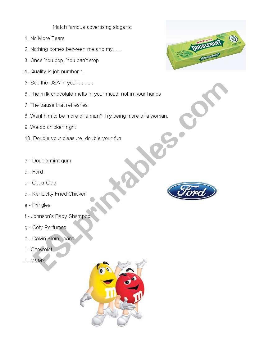 English Worksheets Advertising Slogans