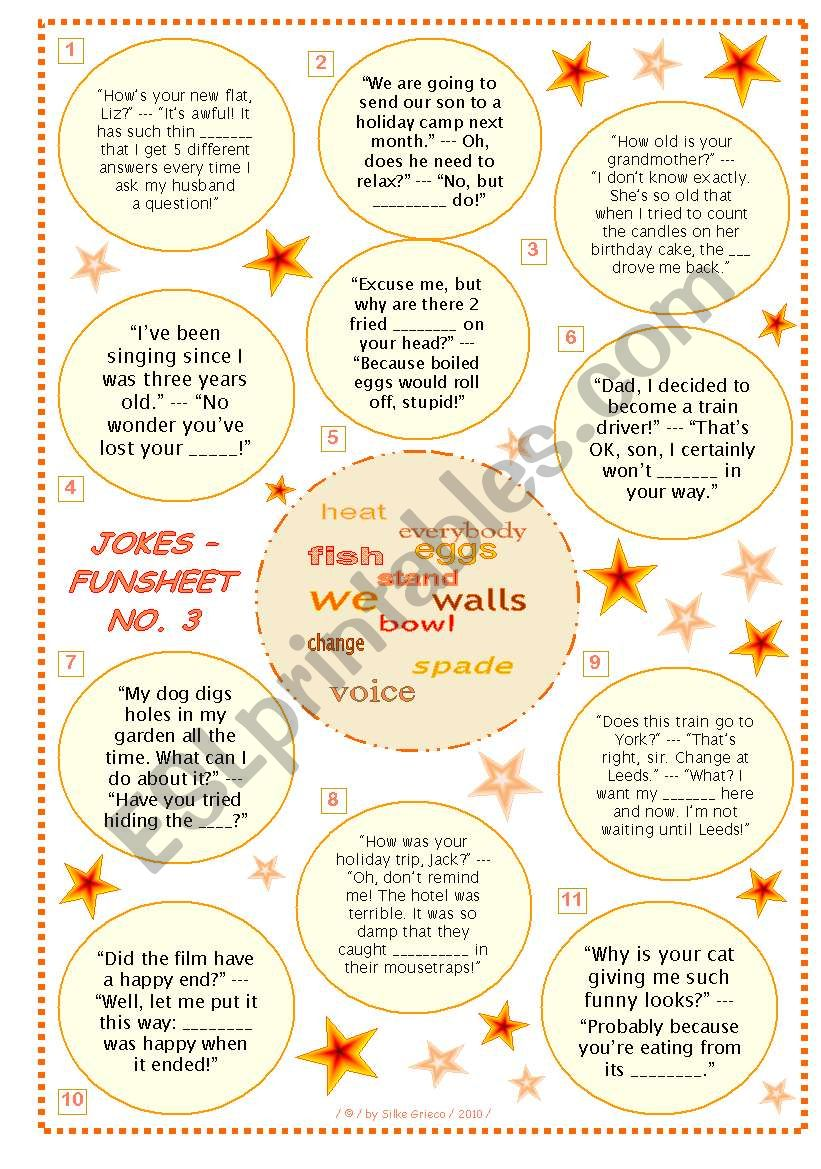 JOKES • FUNSHEET NO. 3 • BLACK & WHITE VERSION AND ANSWER KEY INCLUDED • FULLY EDITABLE • GOOD FOR ADULTS, TOO!!