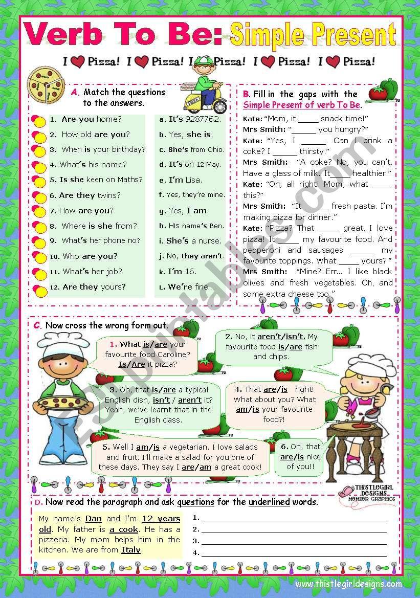 Verb To Be  -  Simple Present worksheet
