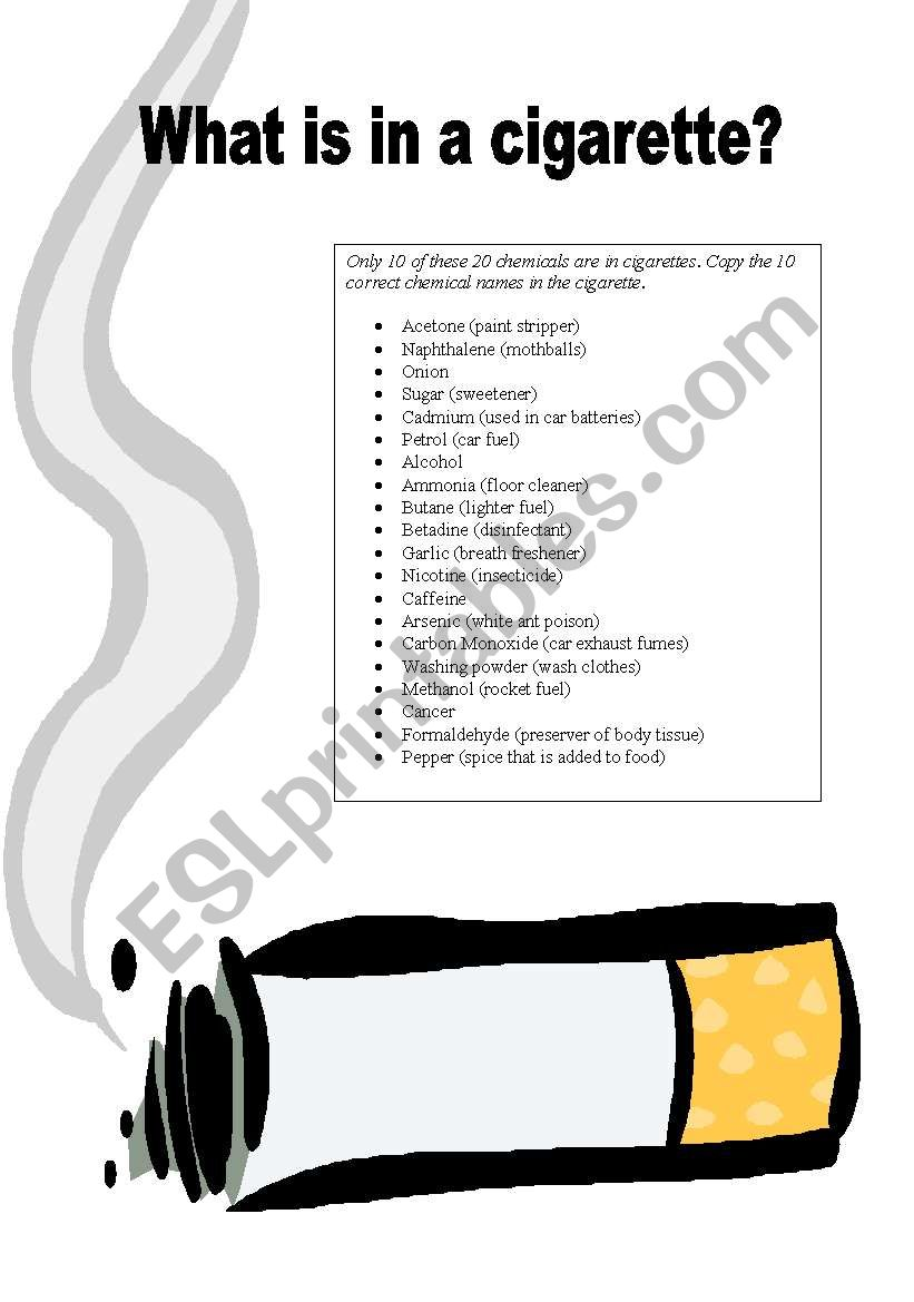 what is in a cigarette? - ESL worksheet by rebeccamarner