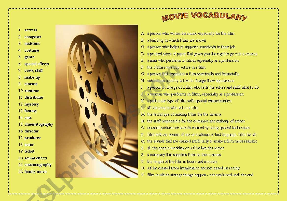 MOVIE VOCABULARY worksheet