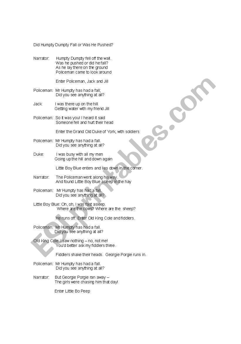 SCRIPT FOT SKIT ON HUMPTY DUMPTY - ESL worksheet by shaan