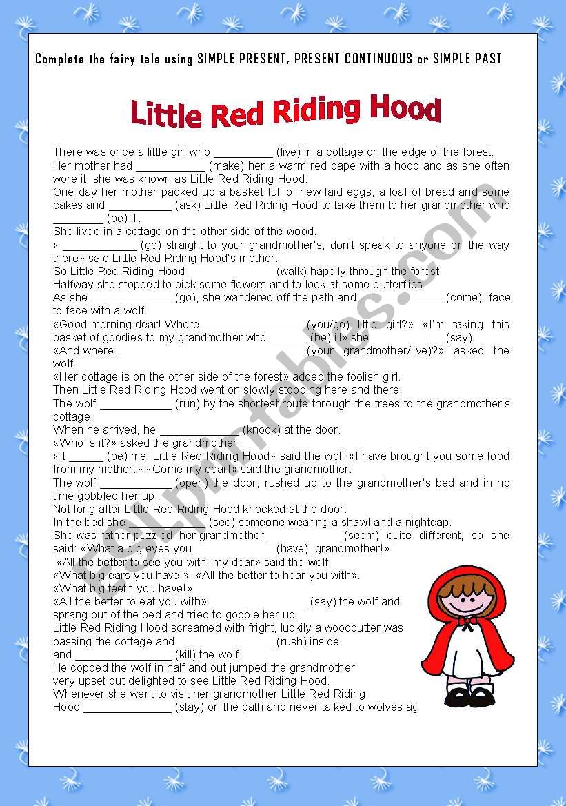 little red riding hood+ key worksheet