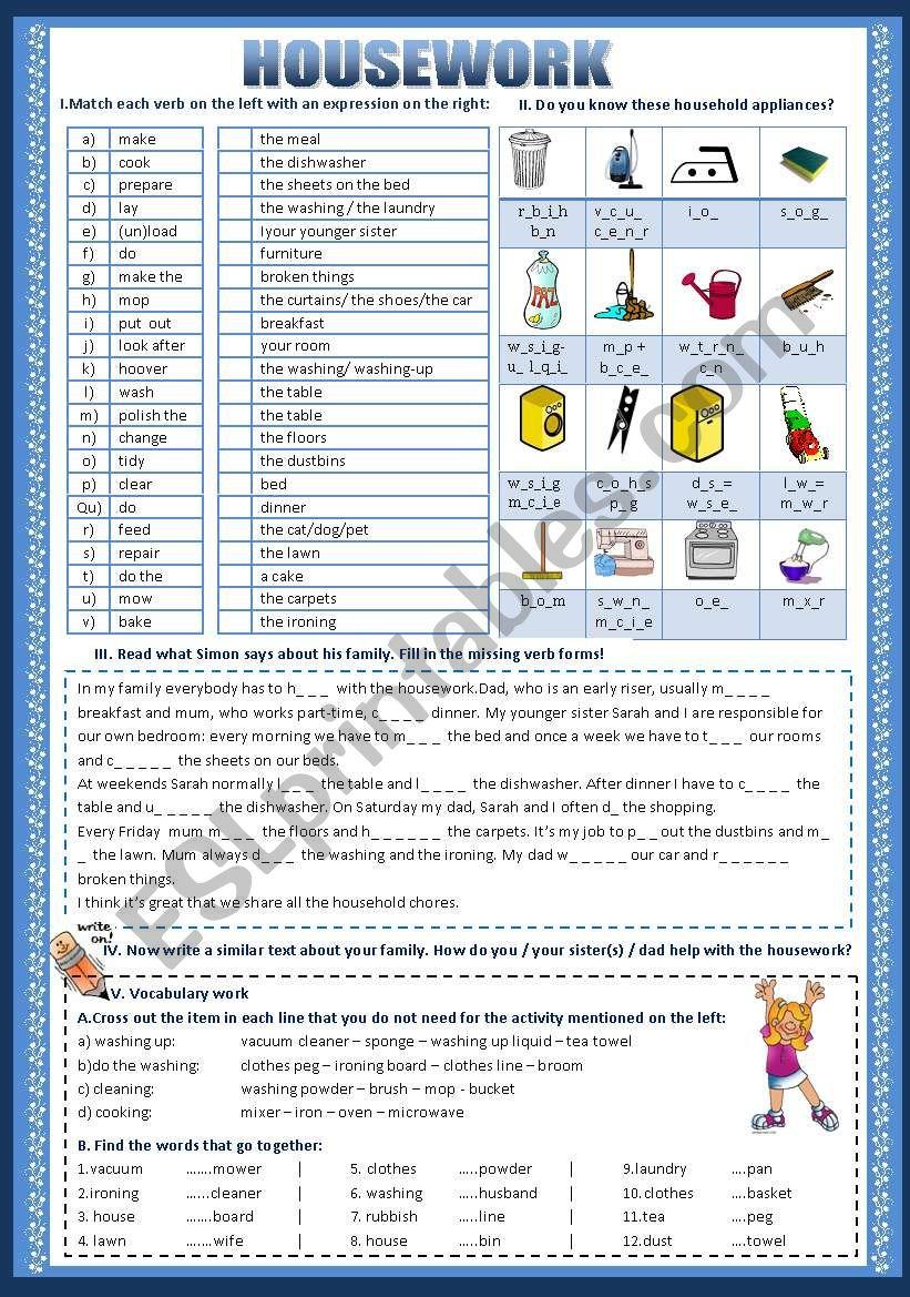 Housework worksheet
