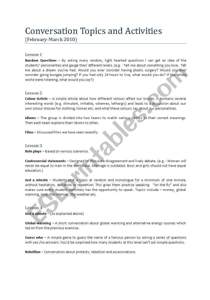 conversation topics - ESL worksheet by ebz24