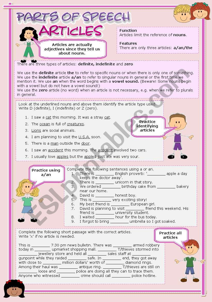 Parts of speech (7) - Articles (fully editable)
