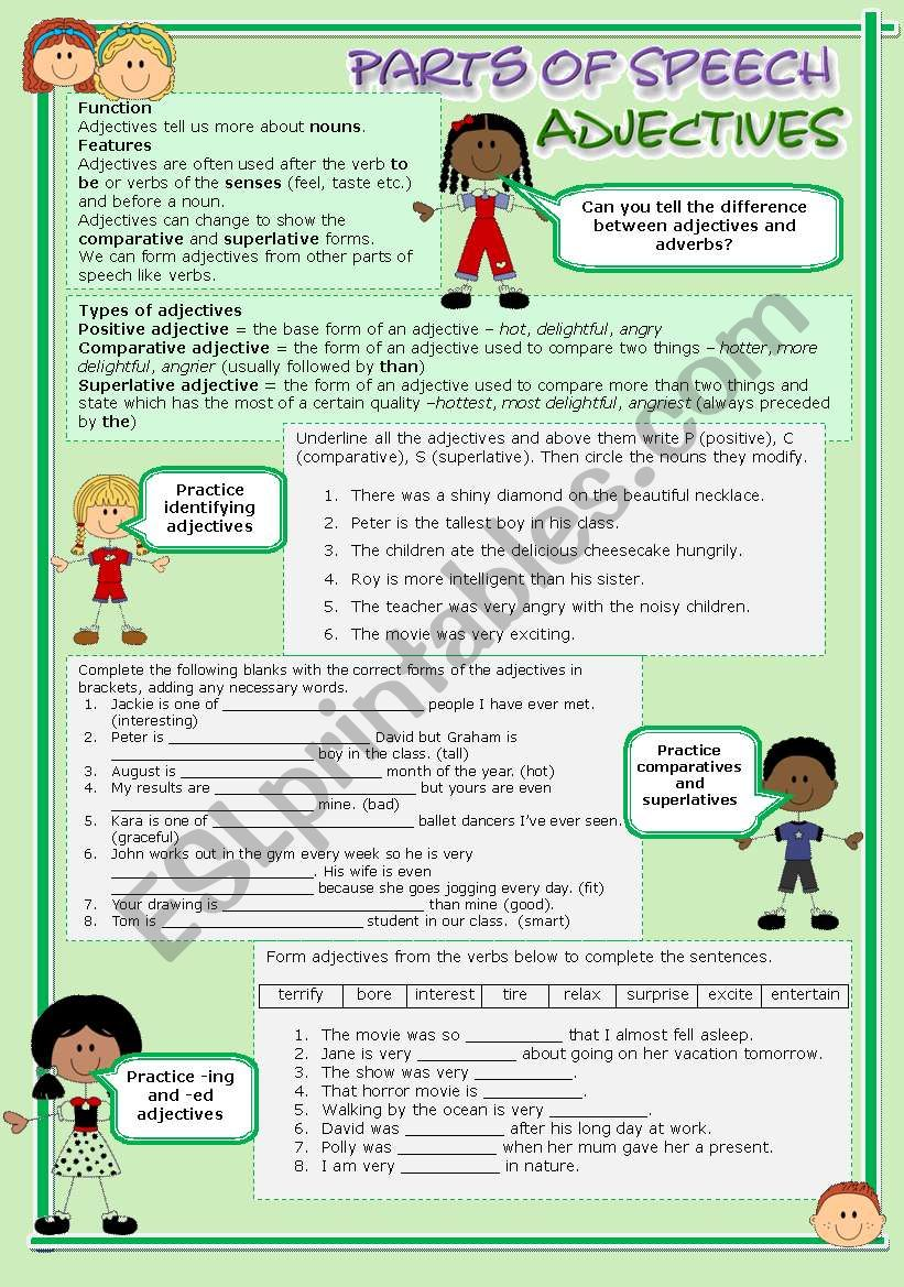 Parts of speech (6) - Adjectives (fully editable)