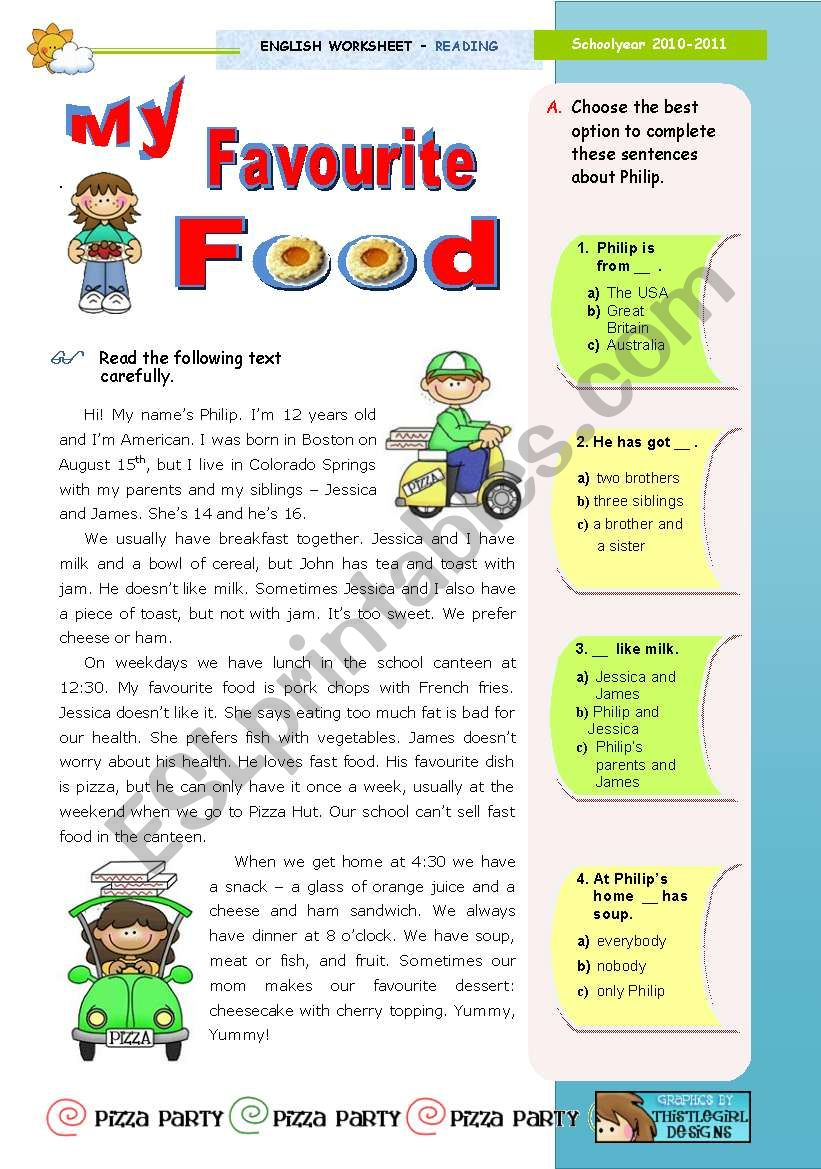 My favourite food  -  Reading (leading to Writing)  for Upper Elementary & Lower Intermediate Sts.