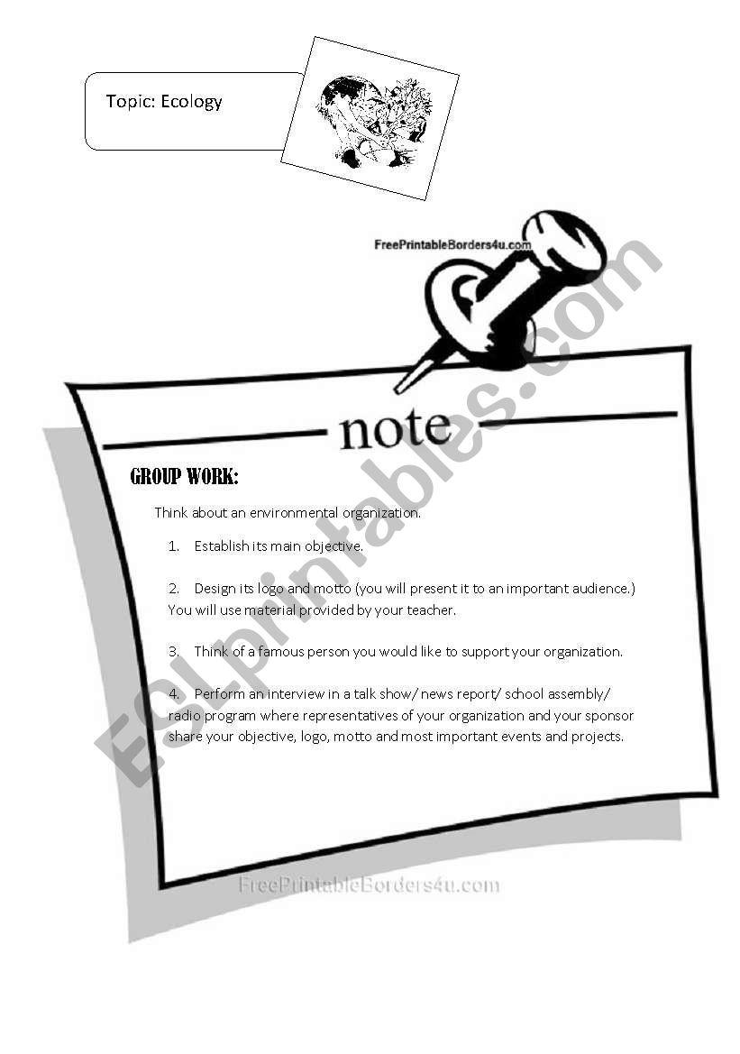Ecology Project  worksheet
