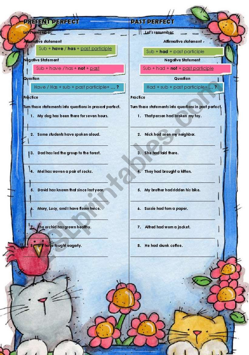 present and past perfect worksheet