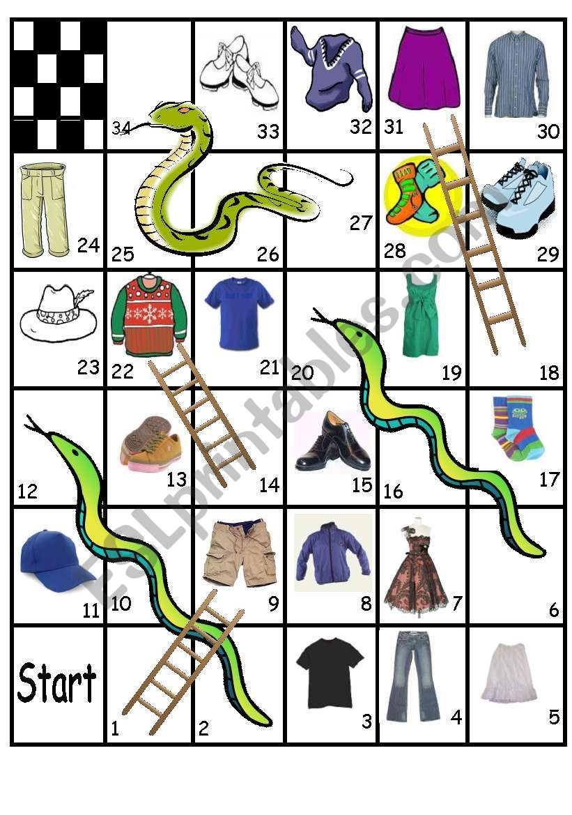 Clothes game worksheet