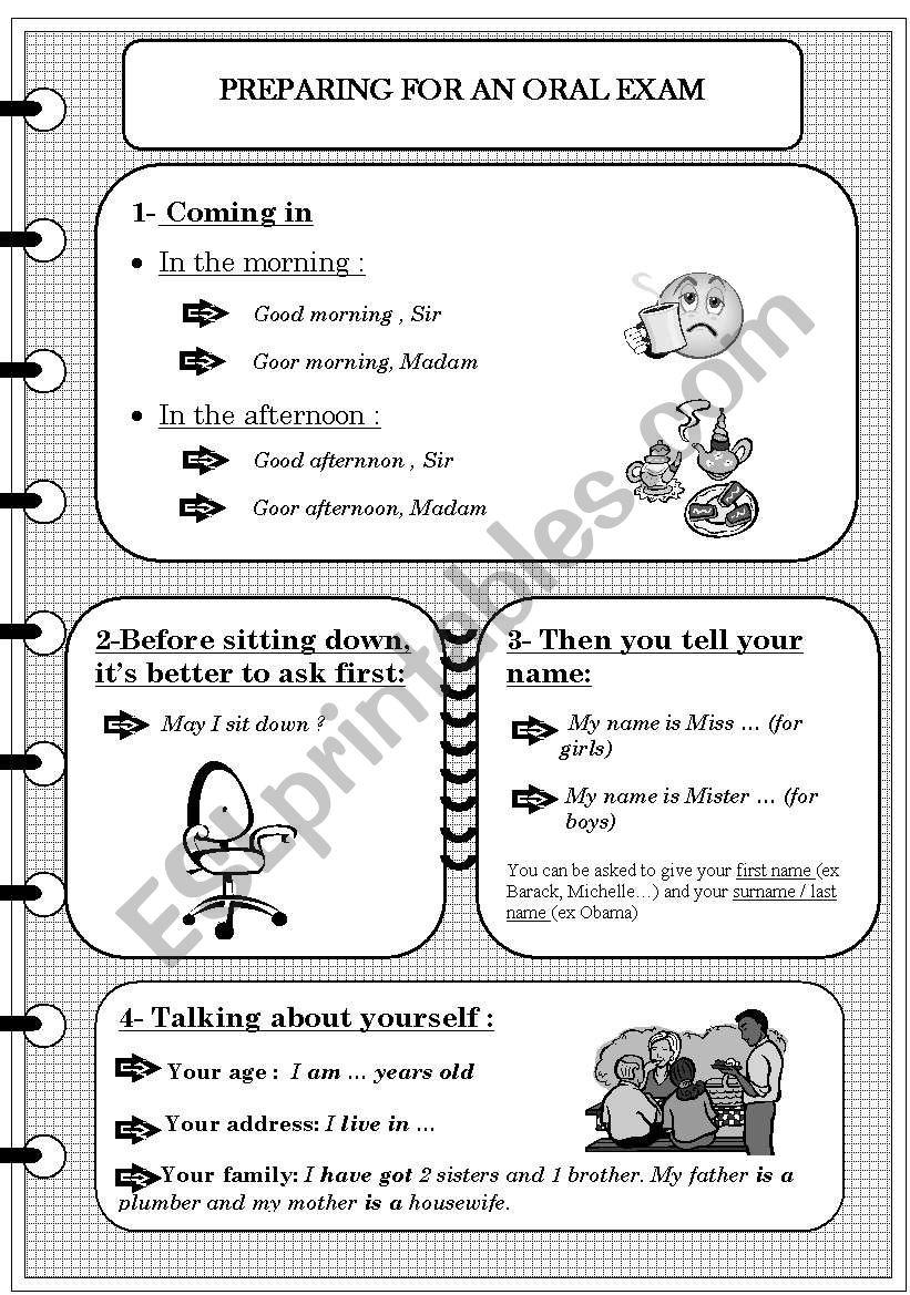 PREPARING FOR AN ORAL EXAM worksheet