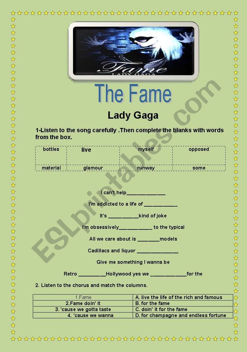 The Fame- Lady Gaga worksheet