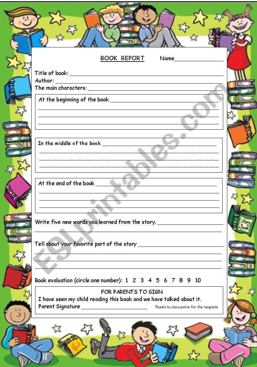 Book Report Form worksheet
