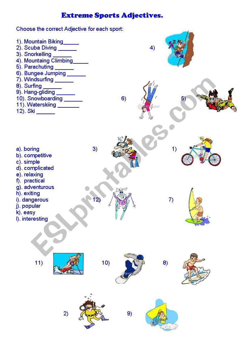 extreme sports adjectives esl worksheet by misscaren2010. Black Bedroom Furniture Sets. Home Design Ideas