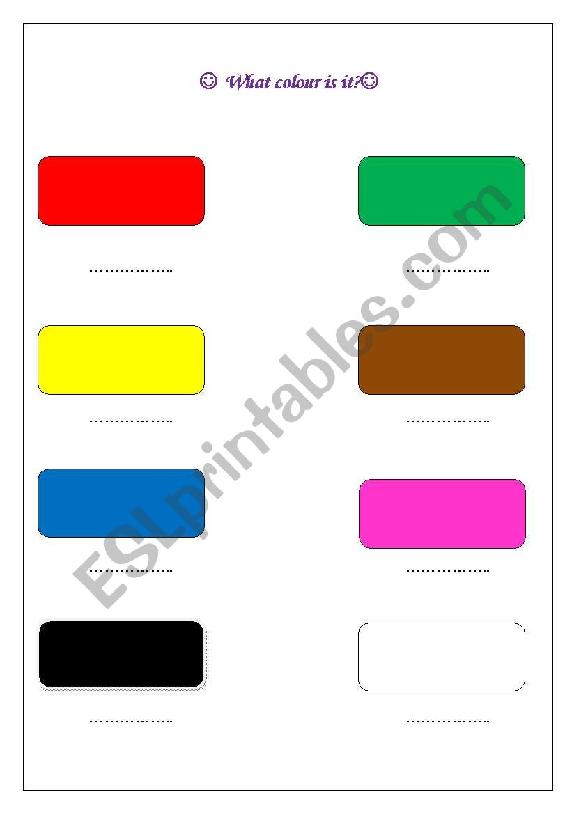 What colour is it ? worksheet