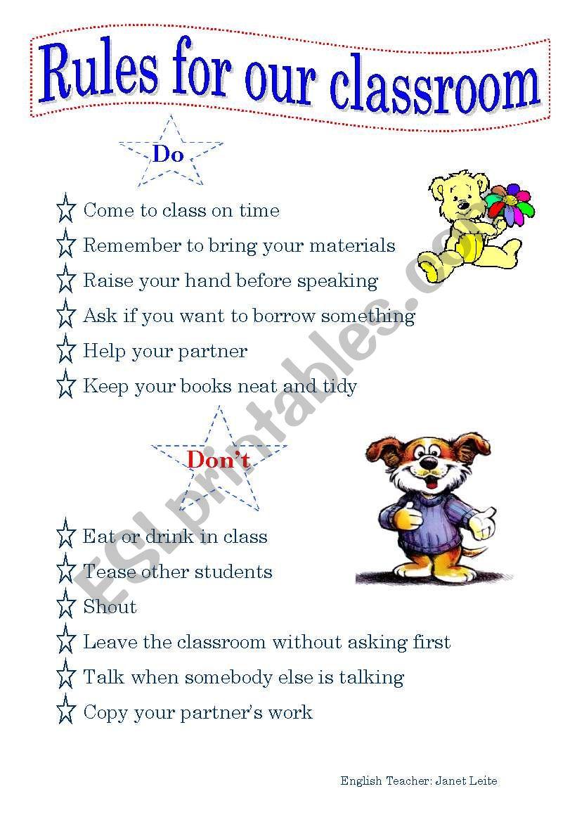 Rules Chart worksheet