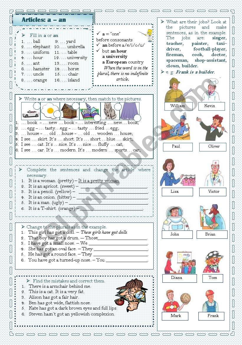 The Indefinite Article: a/an worksheet
