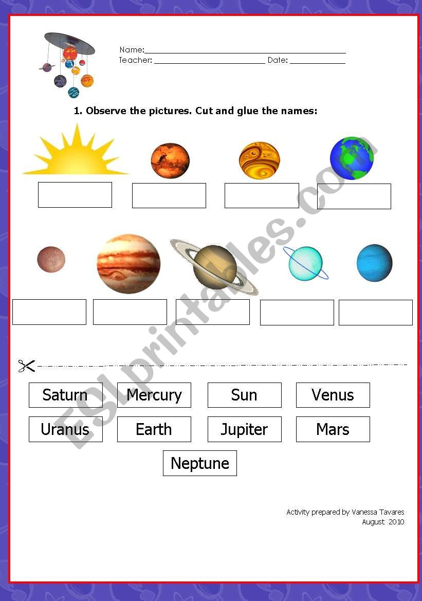 Free Solar system Printable Resource Worksheets for Kids