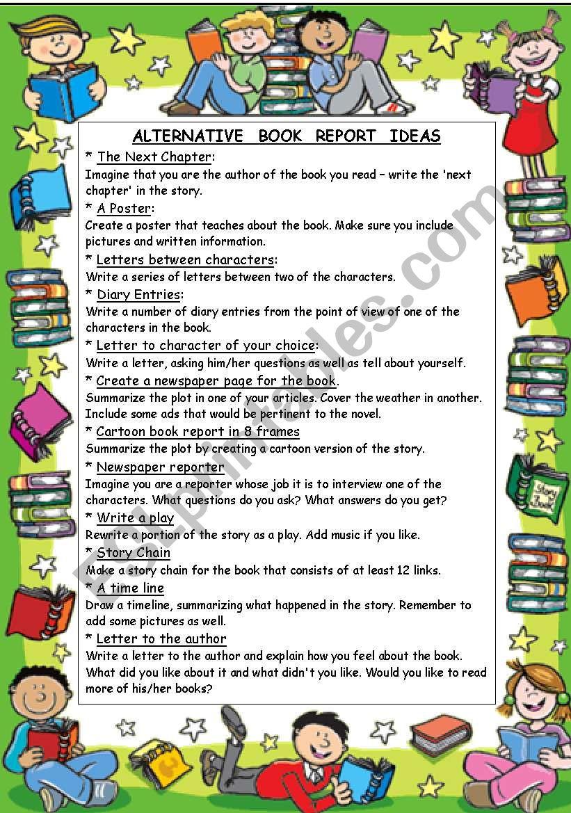 ALTERNATIVE  BOOK  REPORT  IDEAS