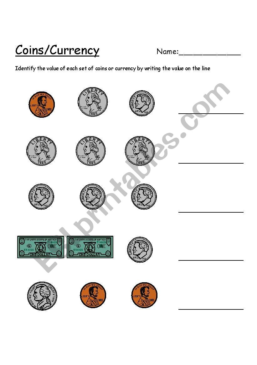 Value of coins/currency worksheet