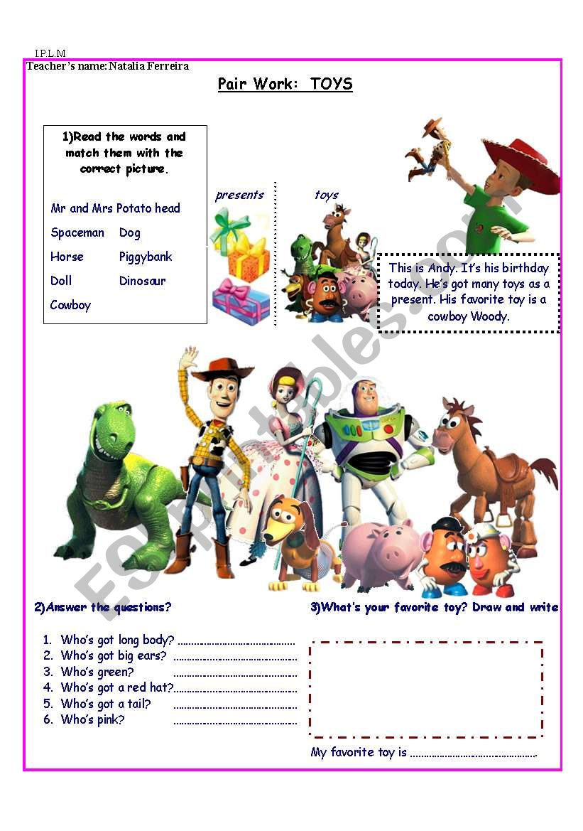 Toy Story/ Toys/ Adjectives worksheet