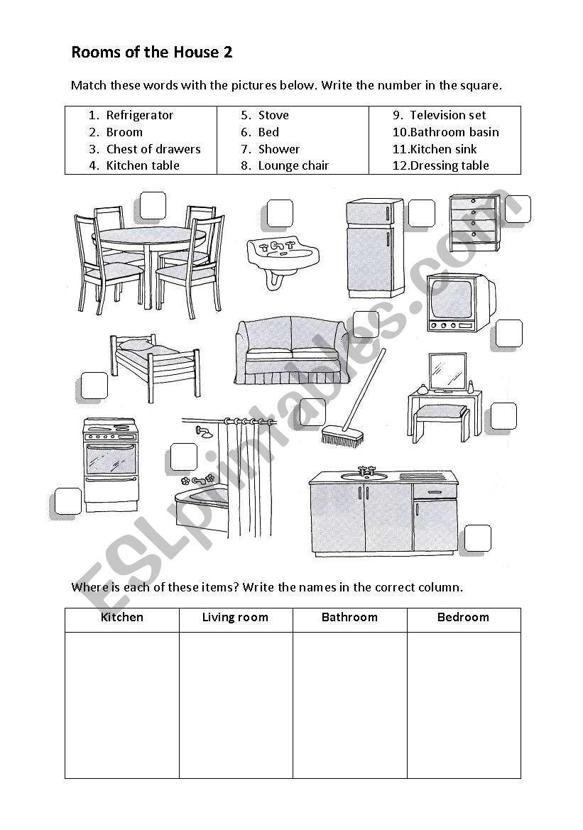 Rooms Worksheet: ESL Worksheet By Apodo