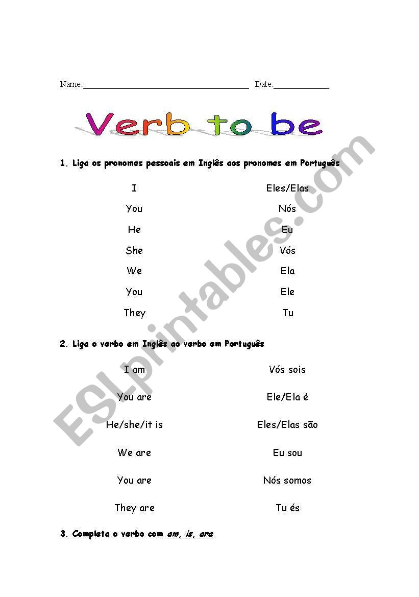 verb to be worksheet
