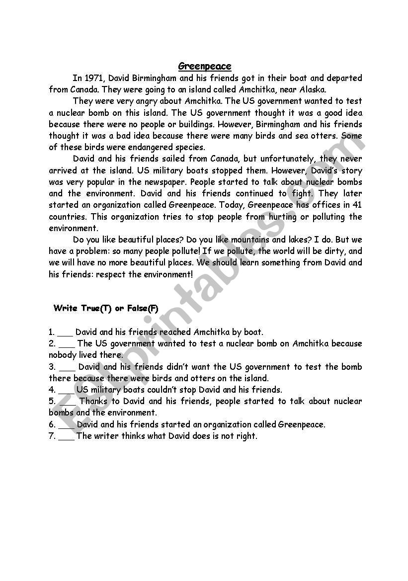 GREENPEACE worksheet