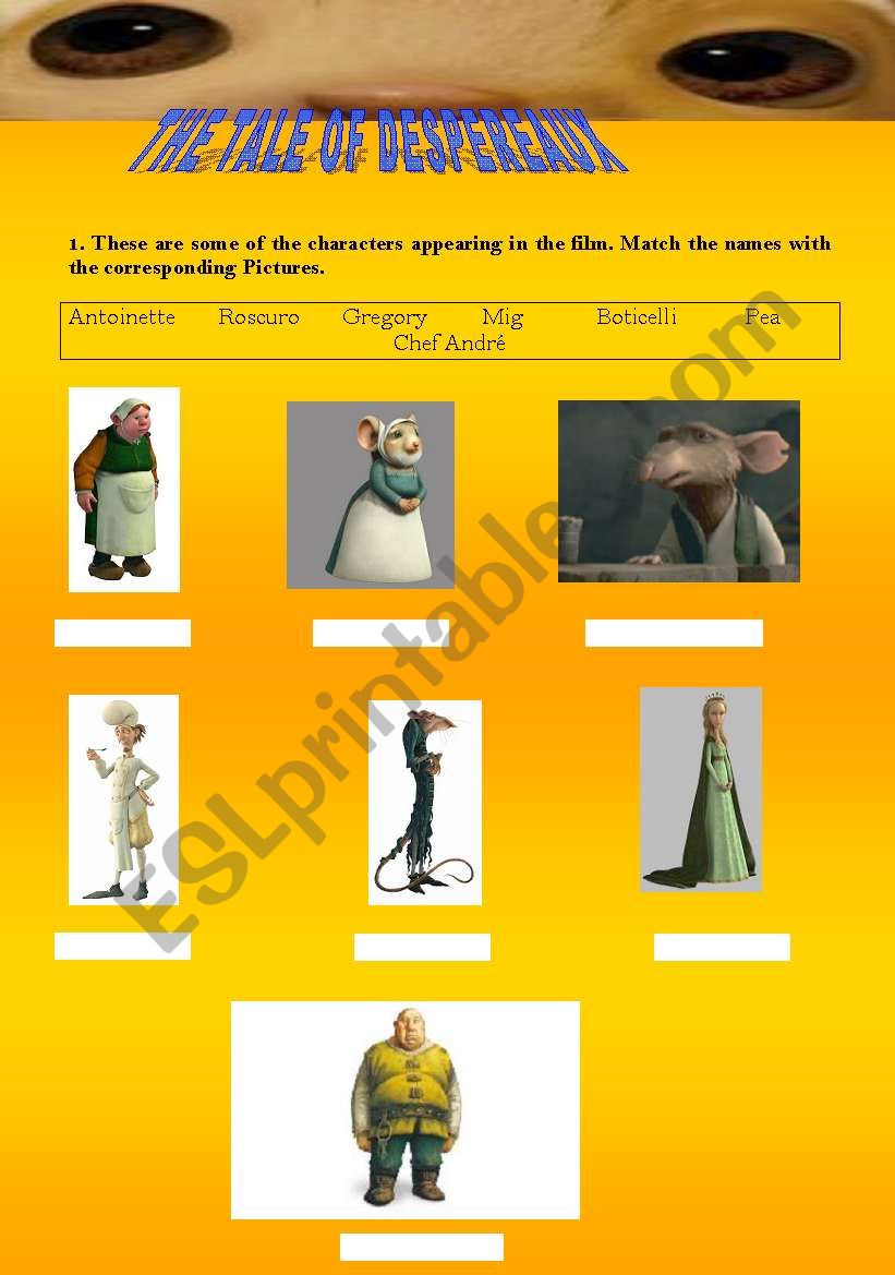 Despereaux (1st part) worksheet