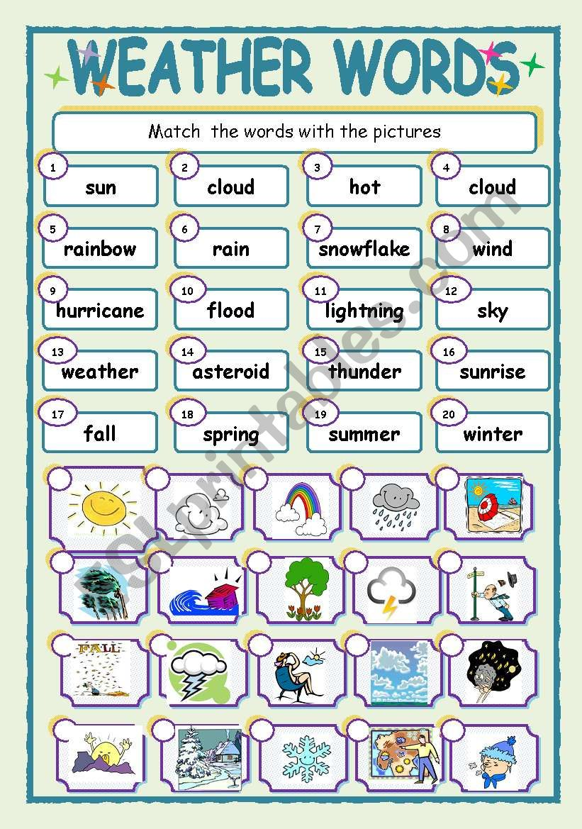 weather words esl worksheet by jhansi. Black Bedroom Furniture Sets. Home Design Ideas