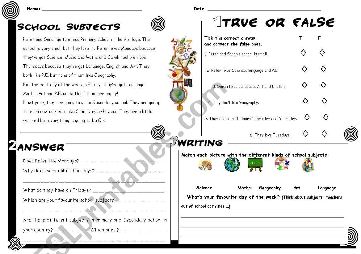 School subjects reading + answers + writing