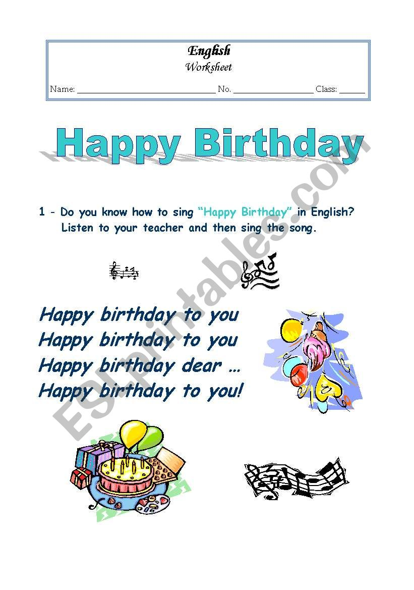 Happy Birthday Song worksheet - ESL worksheet by Jenna M