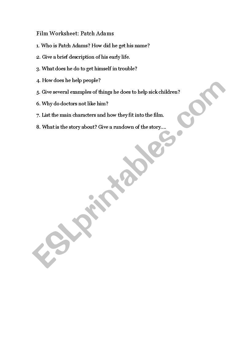 English worksheets: patch adams