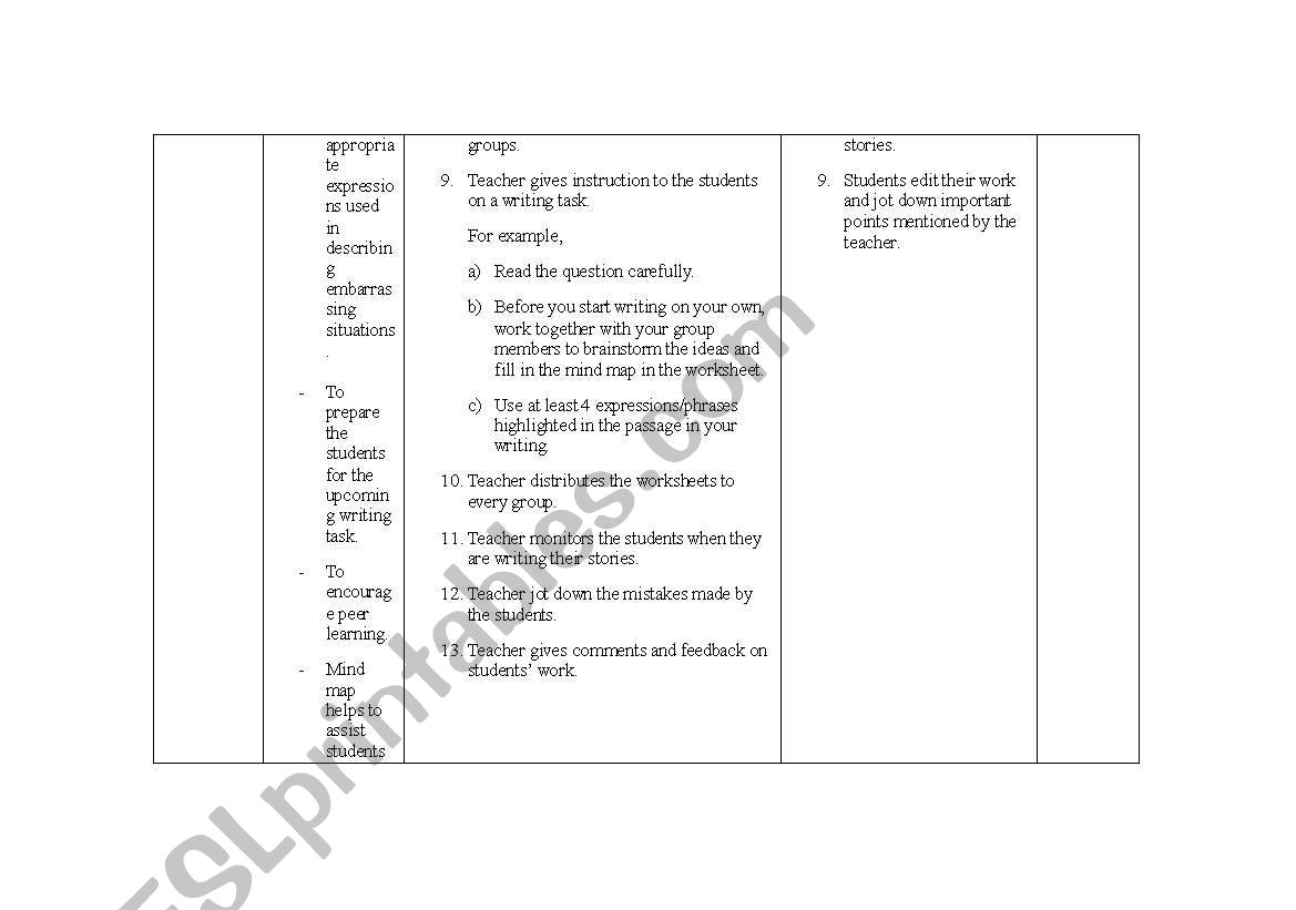 english worksheets a lesson plan on teaching narrative essay writing