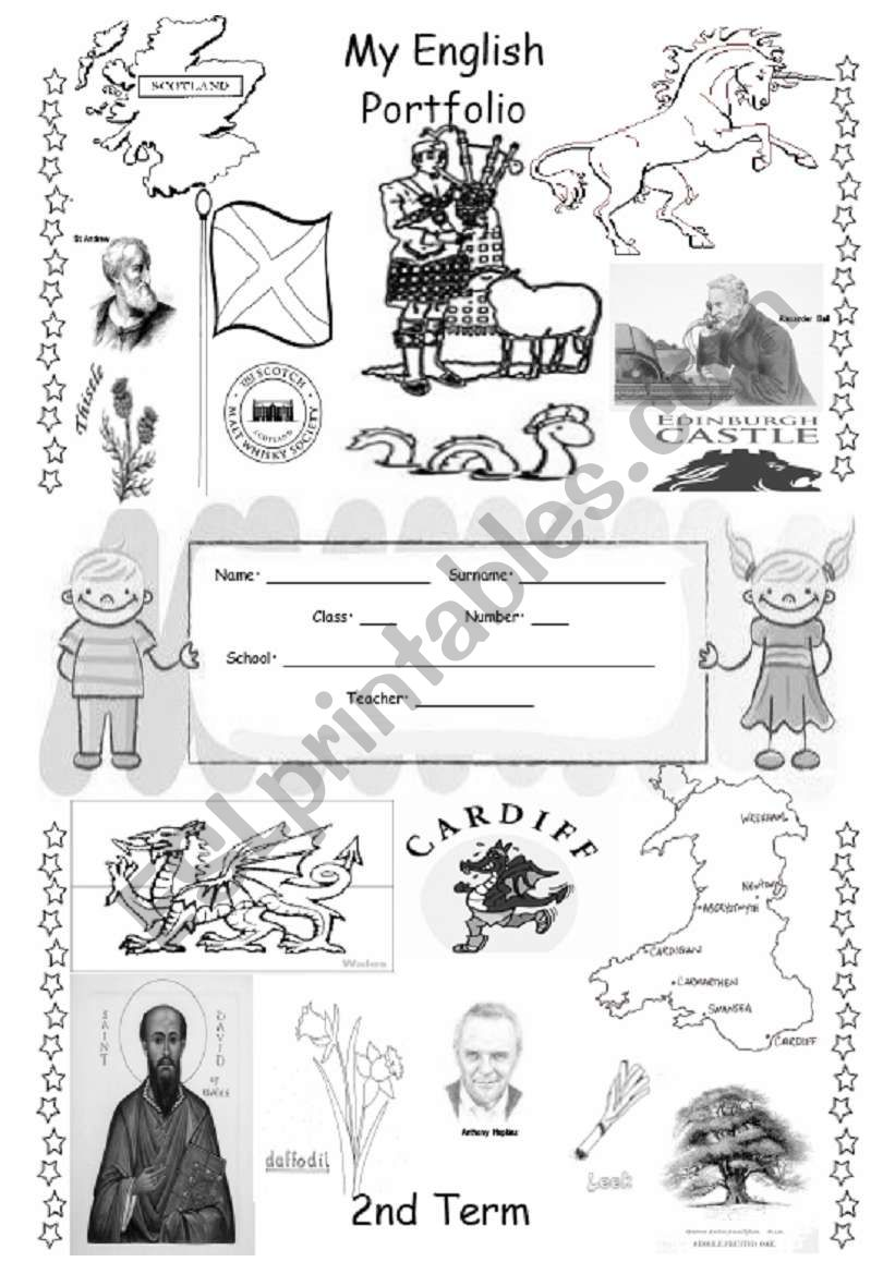 ENGLISH PORTFOLIO COVER (for colouring) - English Speaking Countries - 2/3