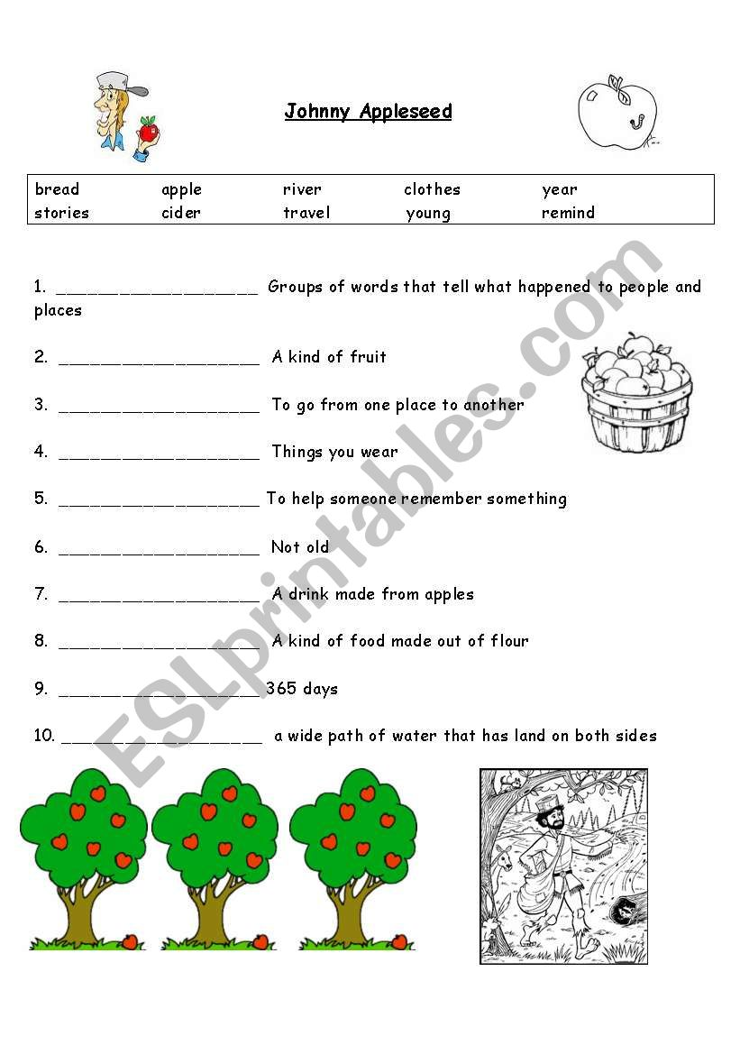 worksheet Johnny Appleseed Worksheets english worksheets johnny appleseed worksheet