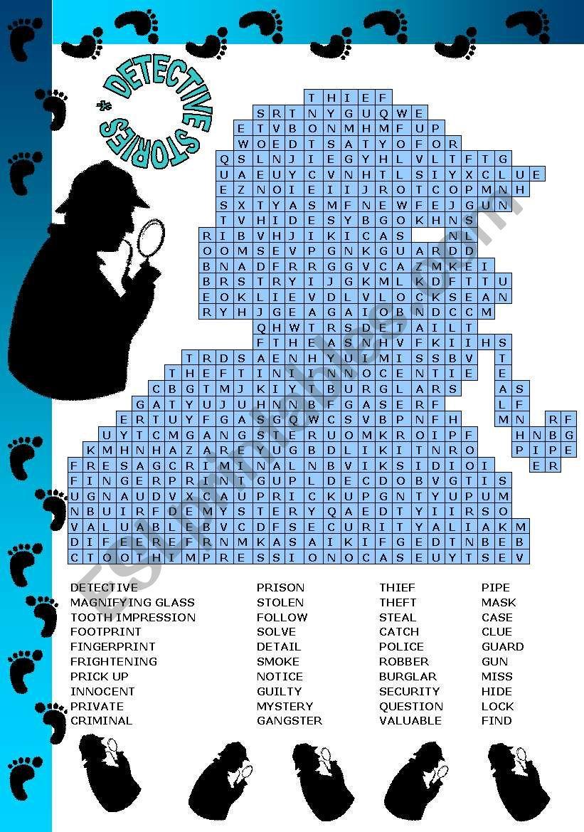 DETECTIVE STORIES - PUZZLE - ESL worksheet by sevim-6