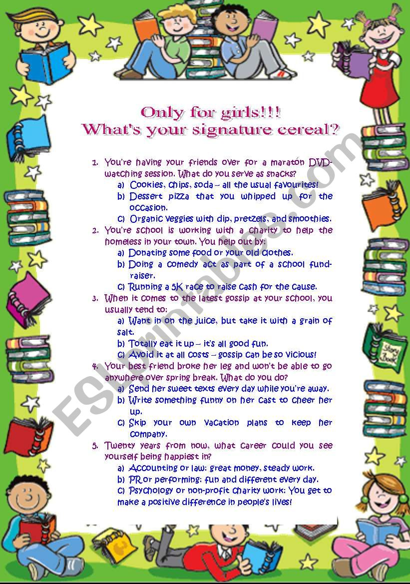 What´s your signature cereal quiz: only for girls (21.08.2010)